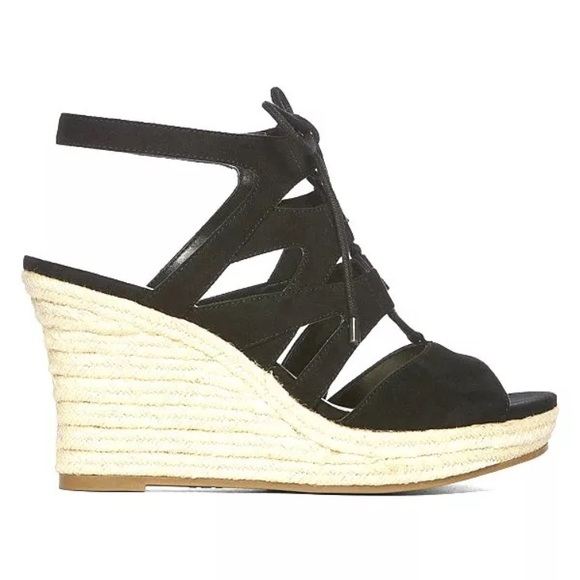 199a5a68558 NWB a.n.a Manhattan Black Lace Up Wedge Sandals
